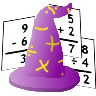 Math Wizard Logo (wizard hat with math facts)